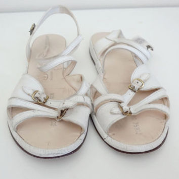 1940s White Sandals by Williams Fashioned for Fit // Size 8 // AS IS