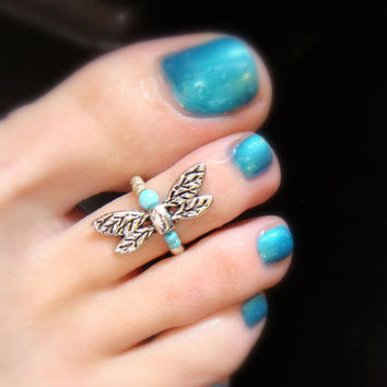 Silver Dragonfly - Turquoise Stone - Stretch Bead Toe Ring