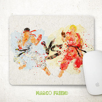 Street Fighter Mouse Pad, Ken VS Ryu Watercolor Art, Mousepad, Office Deco, Gifts, Art Print, Desk Decor, Viedo Games Accessories