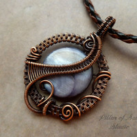 Wire wrapped pendant / Wire Wrapped jewelry handmade / copper jewelry / wire jewelry / black mother of pearl / earthy jewelry / woven wire