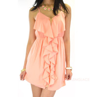 Sea View Coral Zipper Dress