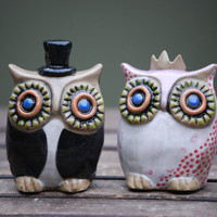 custom Owl wedding cake toppers -Handmade ceramic custom  MADE TO ORDER