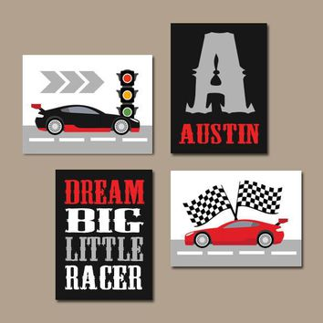 RACE CAR Wall Art, Big Boy Room Decor, CANVAS or Prints, Cars Boy Nursery Decor, Transportation Theme, Dream Big Little Racer Set of 4