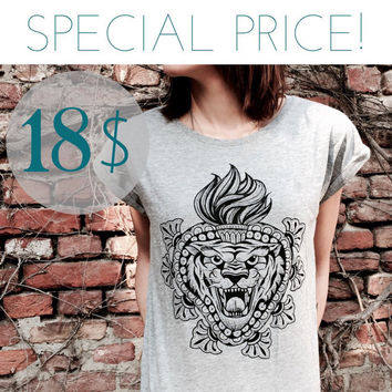 SPECIAL PRICE! women's t-shirt with Tiger and sacred heart print. melange grey, high quality tee for HER. Screenprinted handmade design