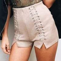 leather suede shorts Women sexy slim split high waist shorts Autumn winter party shorts
