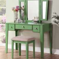 Poundex Bobkona Adar Vanity & Stool Set with Mirror