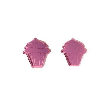 Cupcake Earrings in Mirror Pink