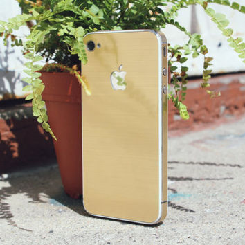 iPhone Metallic Gold Skin Decal Cover - Free Shipping