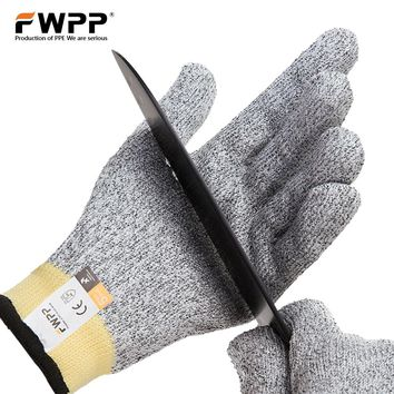 FWPP Pack of 1Pair Cut Resistant Gloves Level 5 Cut Protection protective Safety Gloves Kitchen for Meat Cutting Dyneema Size XL