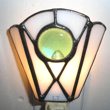 LT Stained glass simple white and teal aqua night light lamp made with a glass nugget and white opal glass