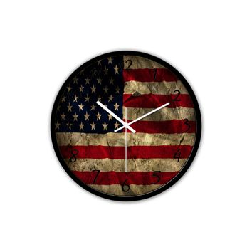 Non-Ticking Silent Wall Clock with Modern Aged American Flag Design for Wall Decoration (Black)