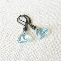 Aquamarine Earrings, Aquamarine Crystal Earrings, Silver Aquamarine Crystal Earrings, Silver Aquamarine Crystal Triangle Earrings