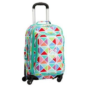 Jet-Set Multi Watercolor Geometric Triangles Carry-On Spinner