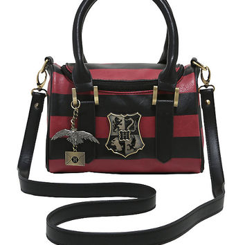 Harry Potter Maroon & Black Stripe Barrel Bag