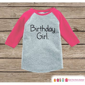 Girls Birthday Outfit - Birthday Girl Shirt or Onepiece - Youth, Toddler Birthday Outfit - Pink Baseball Tee - Kids Baseball Tee - Simple