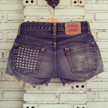 Vintage Distressed Shorts / Studded Shorts 29 Waist