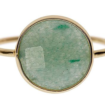Green Aventurine 18k Gold Clad Wholesale Gemstone Fashion Jewelry Round Ring
