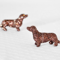 Dachshund Miniature Ornaments. Dog / Animal Lover Gift Set of 2 Home Decor, Party Favors or Decoration, Wedding Favors in Brown/Gold Glitter