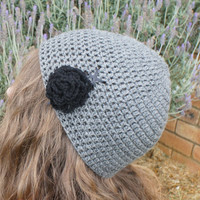 Crochet Beanie, Womens Beanie Hat / Cap in Grey with Black Laces and Flower, Beanie Cap from N-Chanted Clocks & Gifts