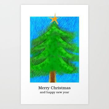 Christmas Tree - Merry christmas and happy new year Art Print by Josep Mestres