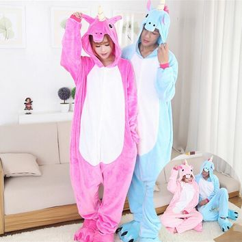 Newest Unisex Fleece Animal Pajamas One Piece Unicorn Cartoon Cosplay Costume Adult Pegasus Tenma Pajamas Sleepwear