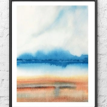 Beach Painting, Beach House Art, Beach Print, Landscape Watercolor Painting, Abstract Landscape Art, Blue Wall Decor,Lake Painting,Cloud Art