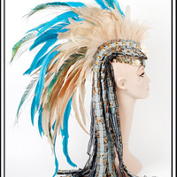 Golden Sky....Feather Mohawk in Gold, Blue, Cream