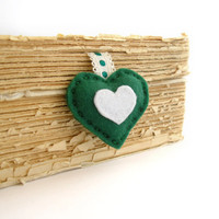 Felt heart bookmark, personalized initial bookmark, green heart bookmark, mini heart, hand embroidered