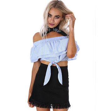 Fashion Off Shoulder Double Layer Frills Stripe Knotted Crop Tops T-shirt