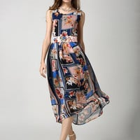 Bohemian Sleeveless 3D Floral Chiffon Sheath A-Line Pleated Maxi Dress with Belt