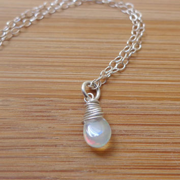Sterling Silver Wire Wrapped Ethiopian Welo Opal Necklace Dainty Necklace for October Birthdays