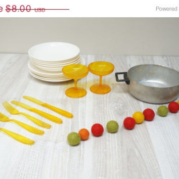 ON SALE Children dishes doll house set lot bulk of 18 Soviet Kid Vintage Retro USSR Russian playhouse gift Toy plate saucer caserolle Home D