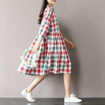 Summer Dress Short Sleeve Turn Down Collar Cotton Linen Dress Plaid Print High Waist Casual Women Dress Plus Size Women Clothing