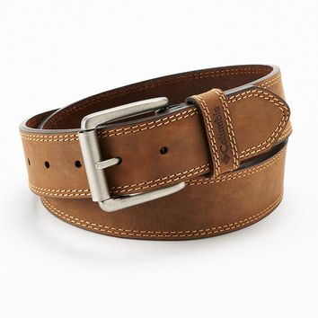 Columbia Bridle Double-Stitched Brown Leather Belt - Men, Size: