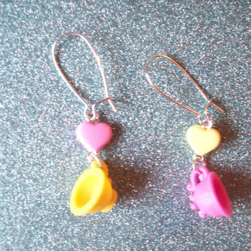 Sweet Tea Party - Pastel Heart and Teacup Earrings