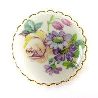 Vintage Porcelain Flower Brooch Pin (Floral Cameo, Wild Flower Portrait, Spring Pastel, 1970s Victorian Revival, Retro Costume Jewelry)