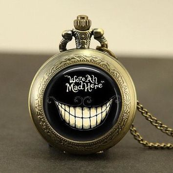 Steampunk movie Alice in Wonderland hatter We're all Mad Necklace 1pcs/lot bronze silver Pendant jewelry pocket watch chain mens