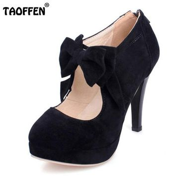 TAOFFEN size 30-47 fashion vintage woman small bowtie platform pumps,ladys sexy high h