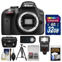Nikon D3300 Digital SLR Camera Body (Black) - Factory Refurbished with 32GB Card + Case + Flash + Tripod + Remote + Kit - Walmart.com
