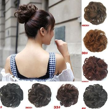 Sale 1pc Women Natural Hair Bun Fashion Synthetic Hair Chignon Extension Curly Scrunchie Hair Accesories HairBand