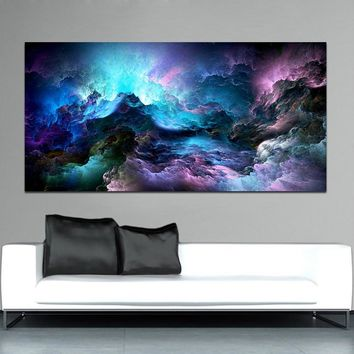 WANGART Large Size Wall Art Prints Cloud Abstract Colorful Oil Painting Wall Decor Blue Painting for Print Wall Picture no frame