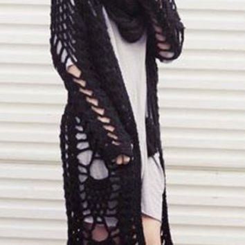 Sheer Crochet Long Sleeve Fringed Cardigan