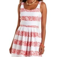 Coral Striped Brocade Skater Dress by Charlotte Russe