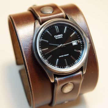 Leather cuff watch Nathan Drake style Uncharted 2 Unisex vintage watch Handmade for YOU in NYC by Freddie Matara!