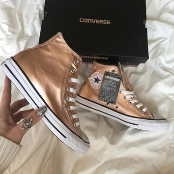 converse fashion sneakers sport shoes rose gold