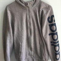 minimalist grey adidas zip up hooded jacket / medium