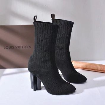 Louis Vuitton Lv  FASHION black SOCK LONG HIGH Boot Zipper Lace-up Ankle high heels shoes Flats Best Qua;ity
