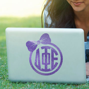 Bow Monogram Decal // Sorority Decal // DPhiE // Delta Phi Epsilon // Laptop Sticker // Car Decal