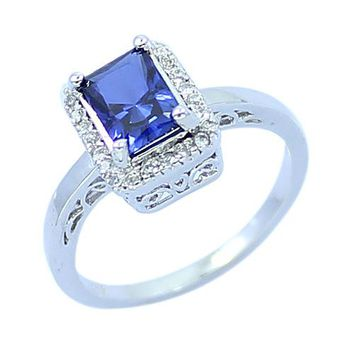 Fashion Baguette Created Sapphire 925 Sterling Silver CZ Ring