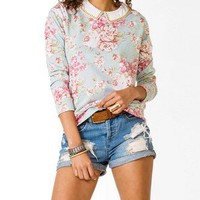 Collared Floral Print Pullover